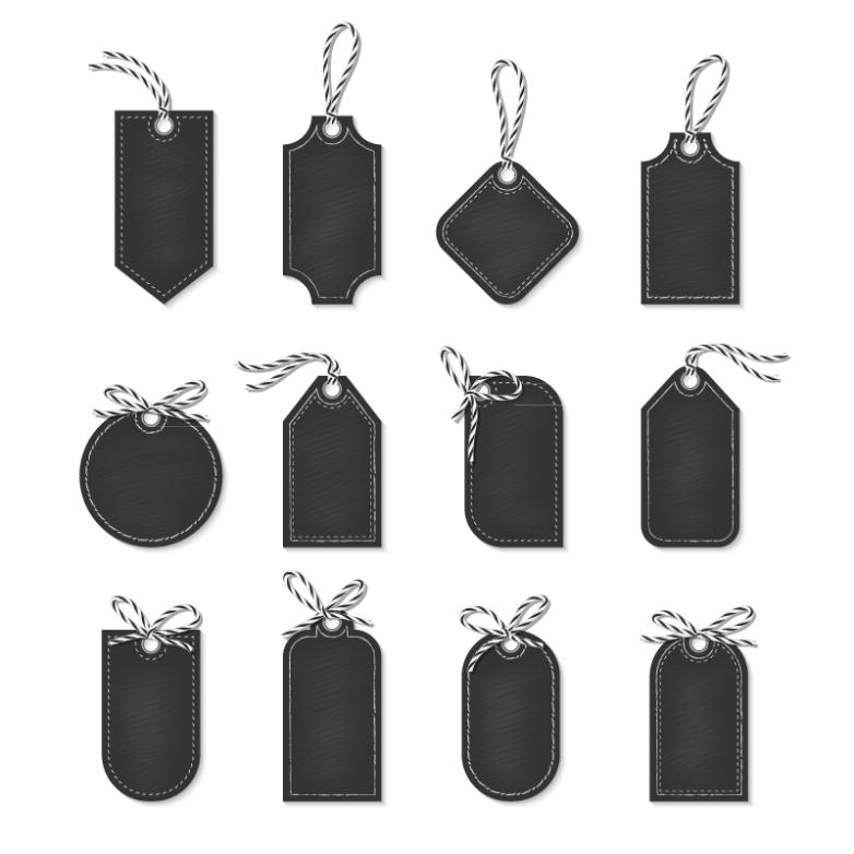 12 Black Blank Tags Design Vector