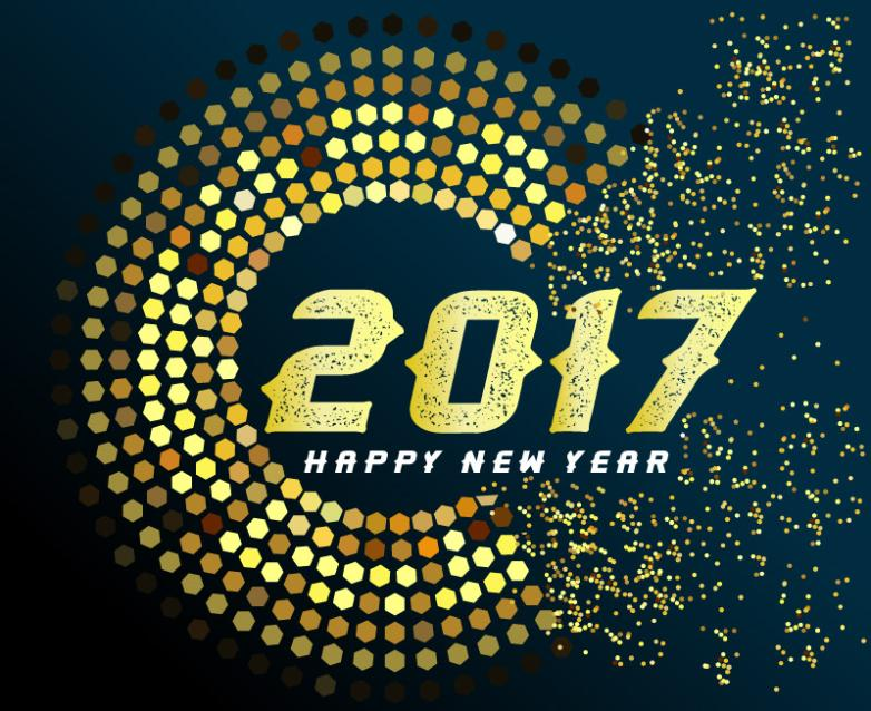Golden Circle In 2017 New Year Greeting Card Vector