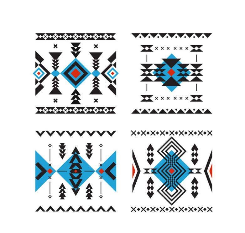 4 Square National Wind Patterns Vector