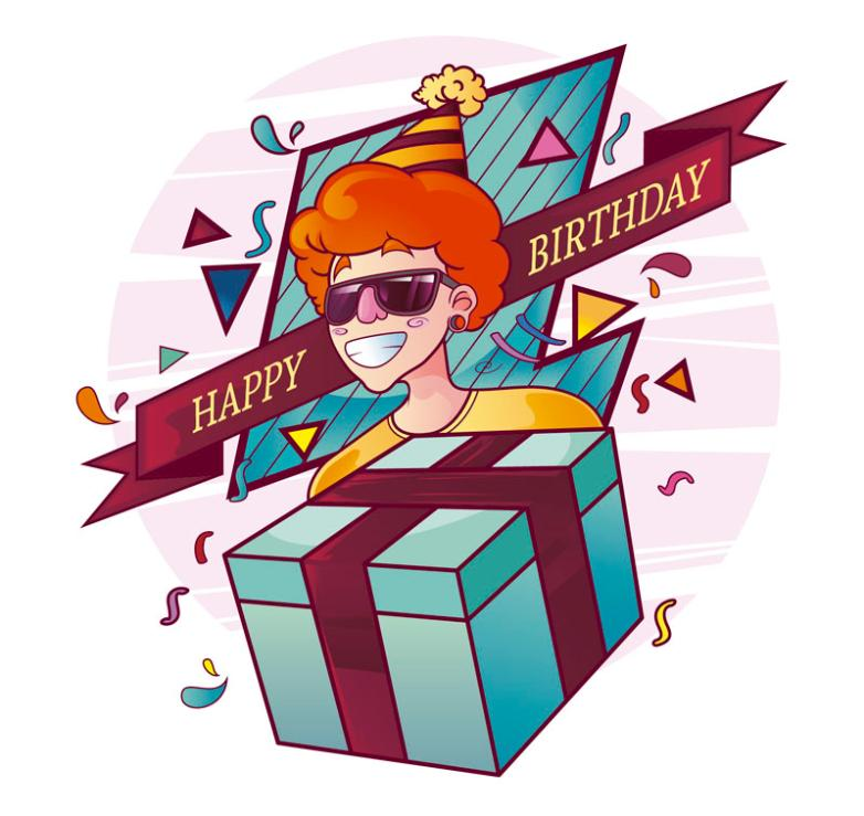 Holding Gift Bag Hip Hop Man's Birthday Card Vector