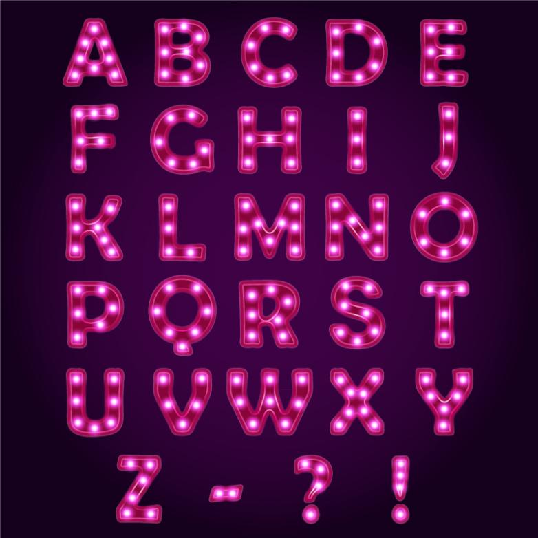 26 Letters With Mei Red Neon Three Symbols Vector Free Vector