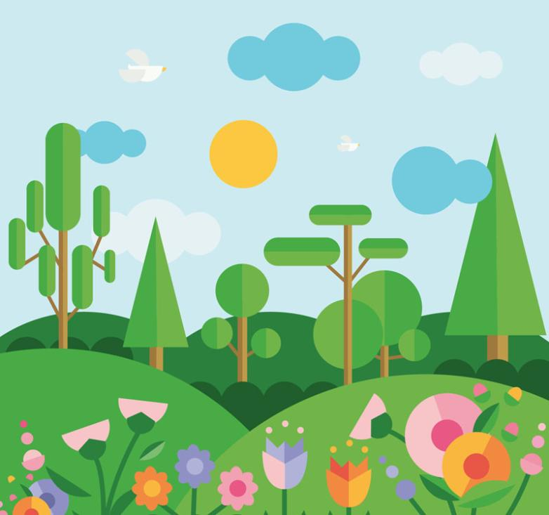 Flat Spring Mountain Scenery Vector