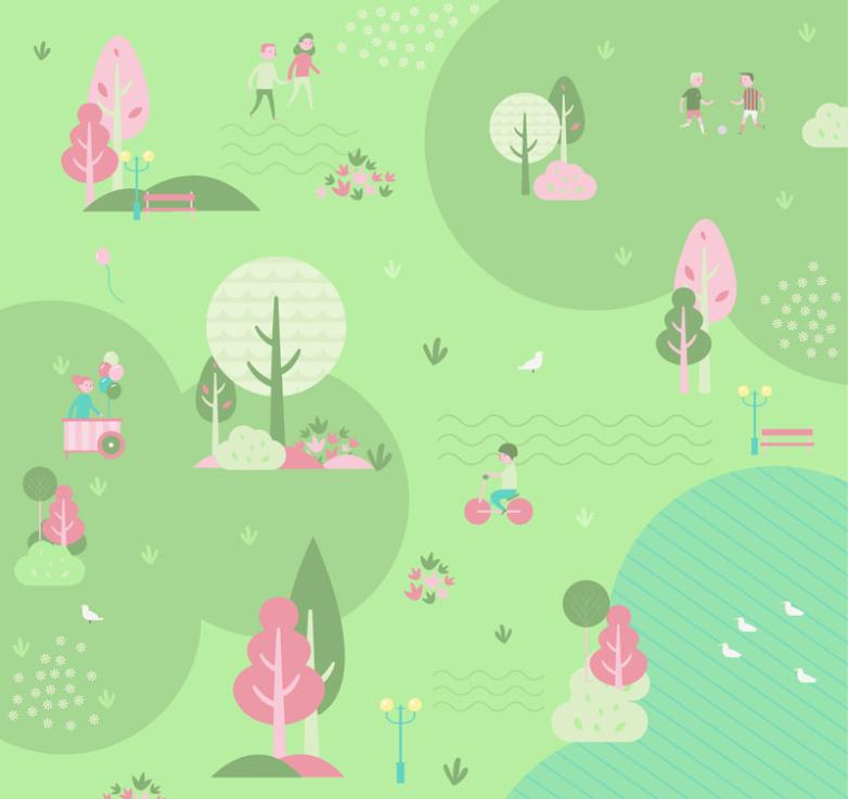 Simple But Elegant Outside Spring Scenery And Character Illustration Vector