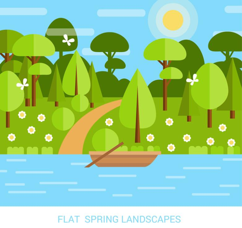 Flattening The Boat In The River In Spring Scenery Vector