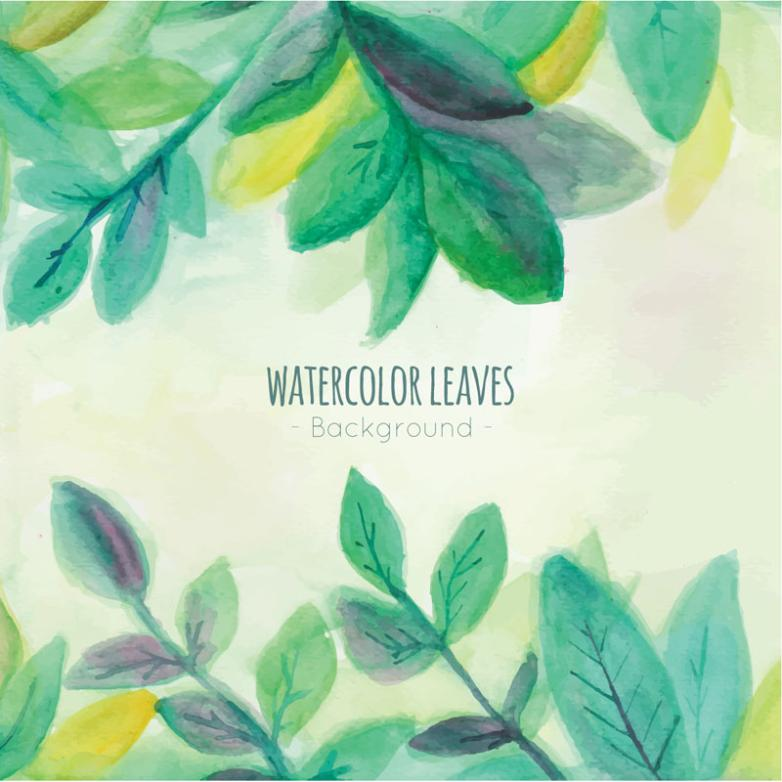 Green Leaves Background Watercolor Vector