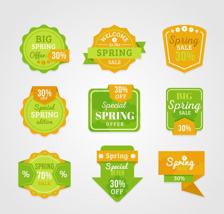 Nine New Lime Green Spring Promotion Label Vector