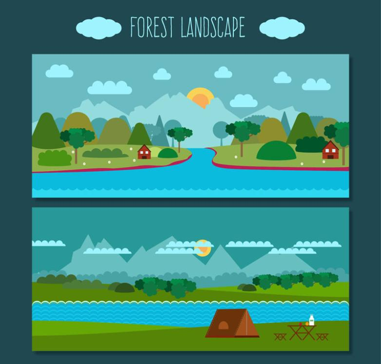 Two Rivers Landscape Banner Creative Village Vector