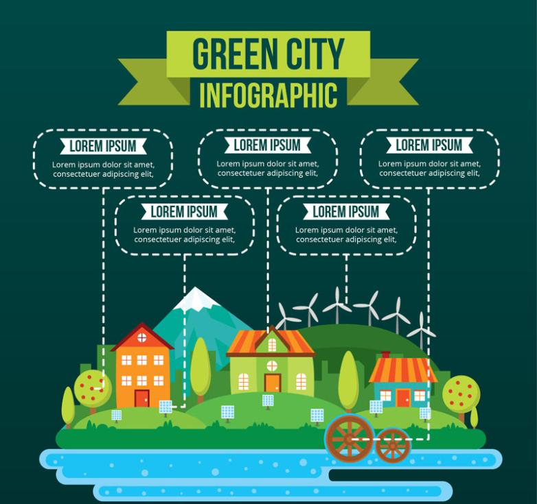 Creative Green City Vector