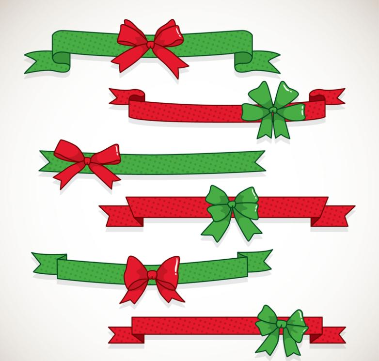 Six Red Green Ribbon Bow Vector