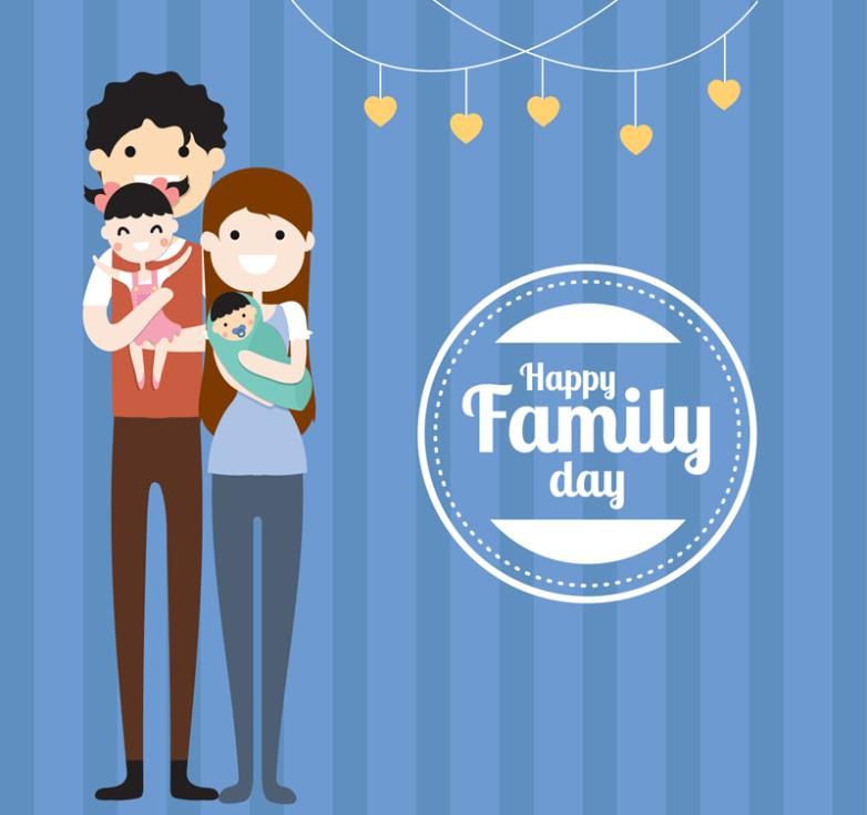 Happy Family Of Four Picture Cards Vector