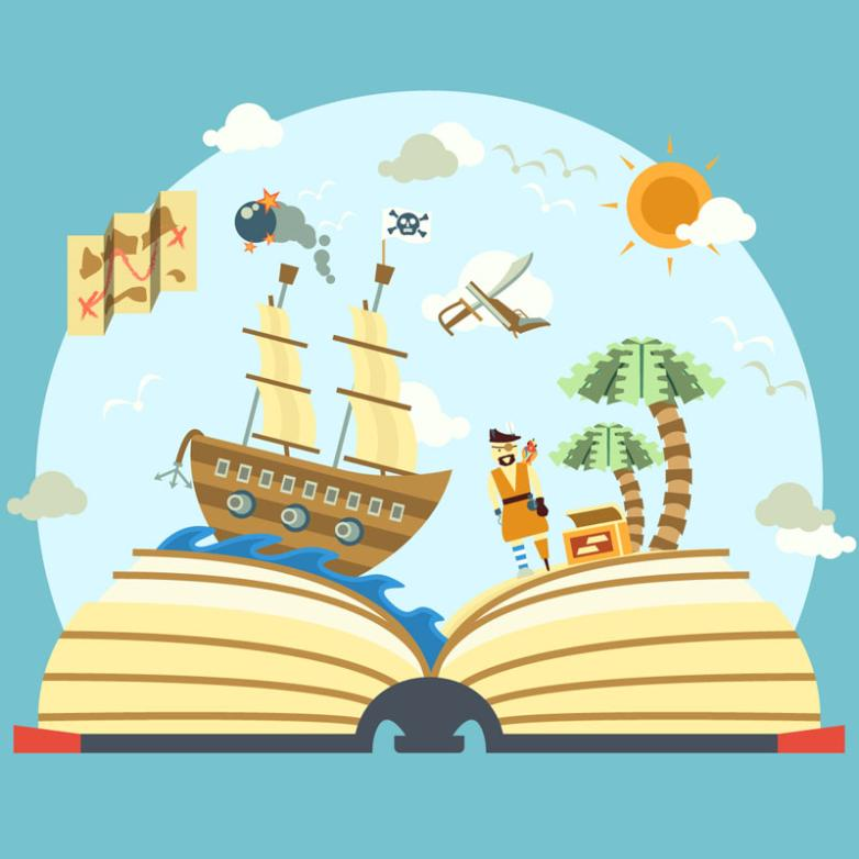 The World Of Pirates In The Three-dimensional Book Illustration Vector