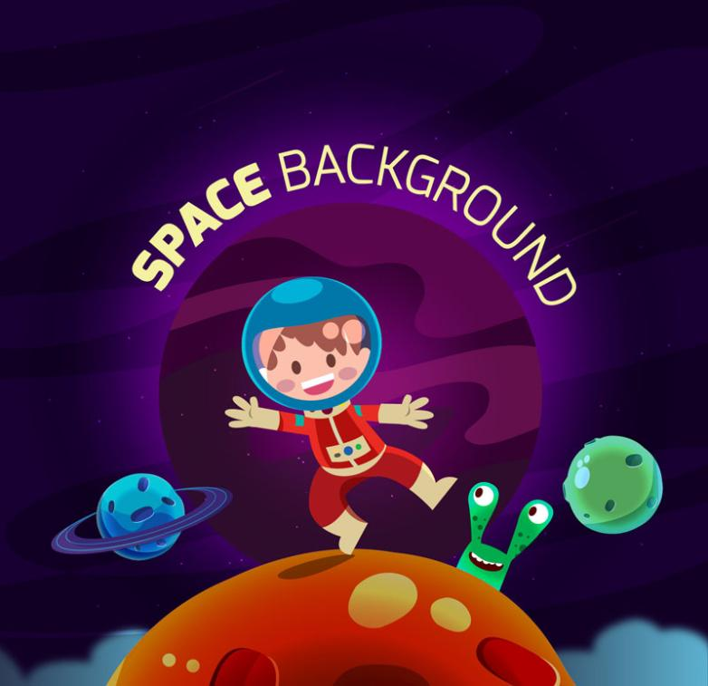 Cartoon Explore The Astronauts And Space Aliens Vector