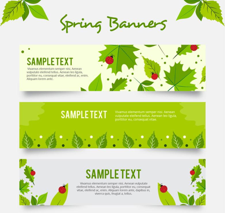Three Spring Leaves And Ladybugs Banner Vector