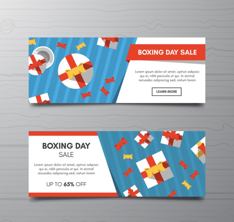 Two Flat Boxing Day Promotional Banner Vector