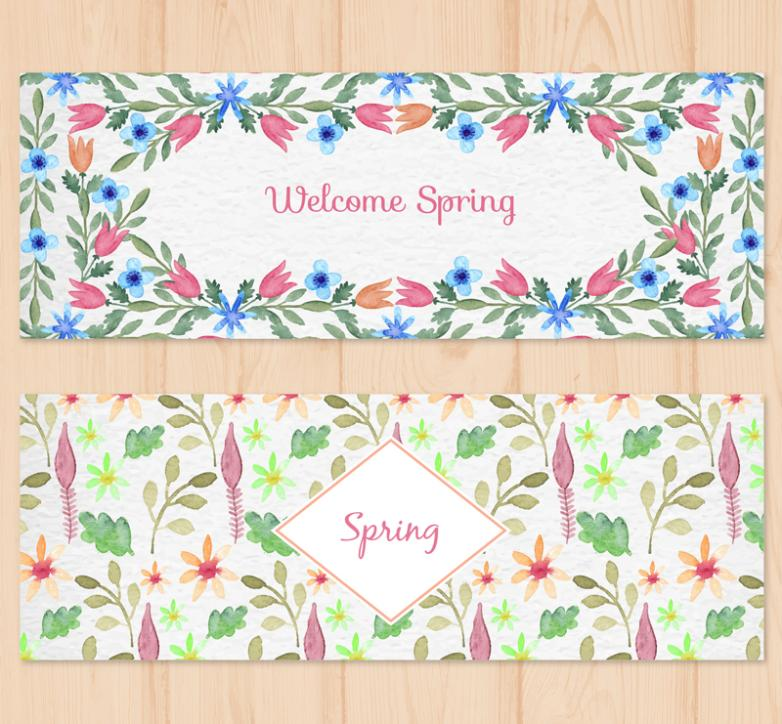 Two Watercolor Spring Flowers Banner Vector