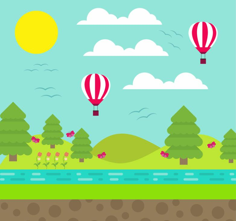 Creative On The Outskirts Of Balloon And The Riverside Scenery Vector