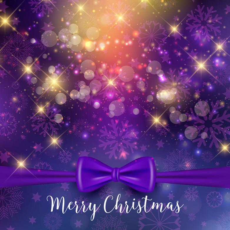 Purple Bow Christmas Card Vector