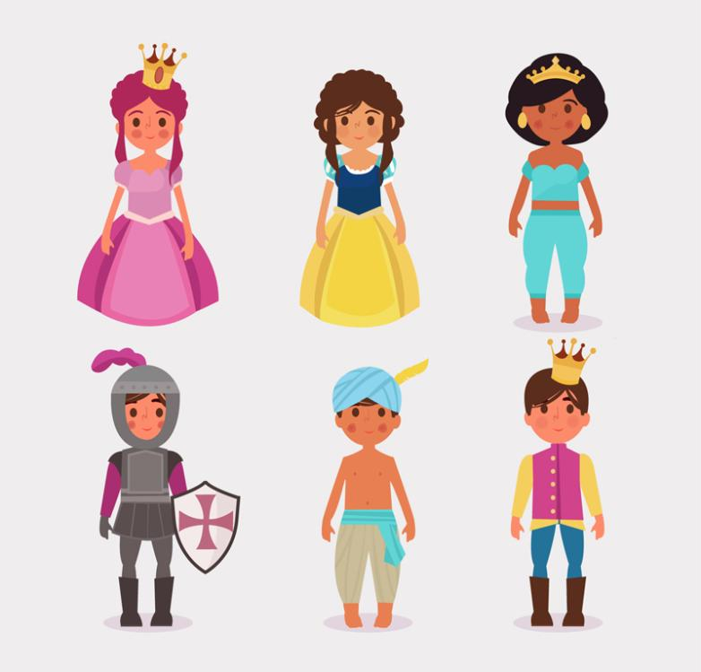Six Cartoon Fairy Tale Characters Vector