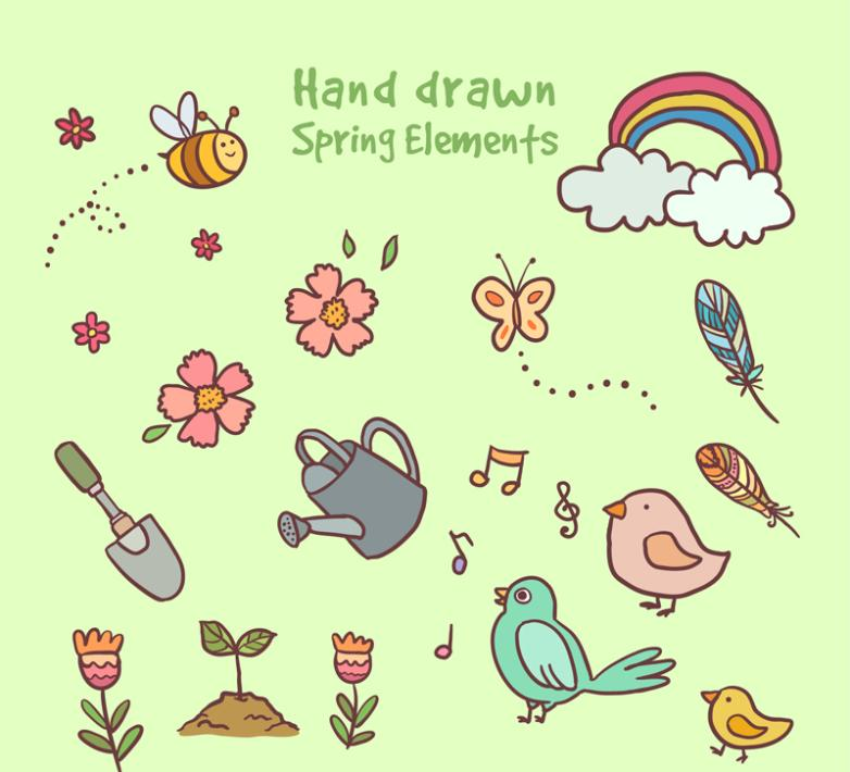15 Hand-painted Spring Element Vector