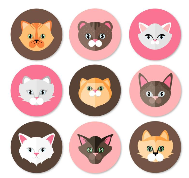 Nine New Round Cat Head Vector