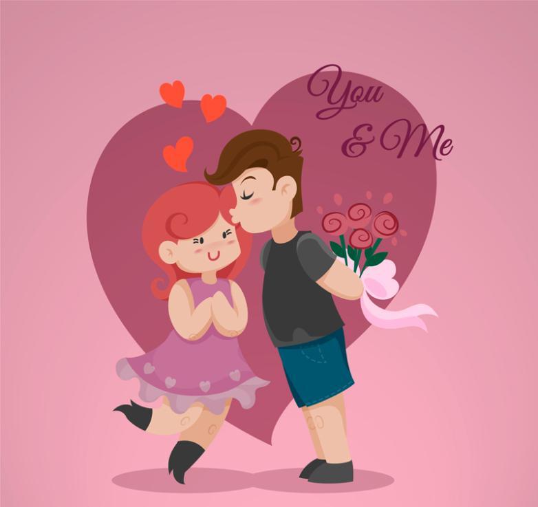 Cute Cartoon Lovers Love Vector