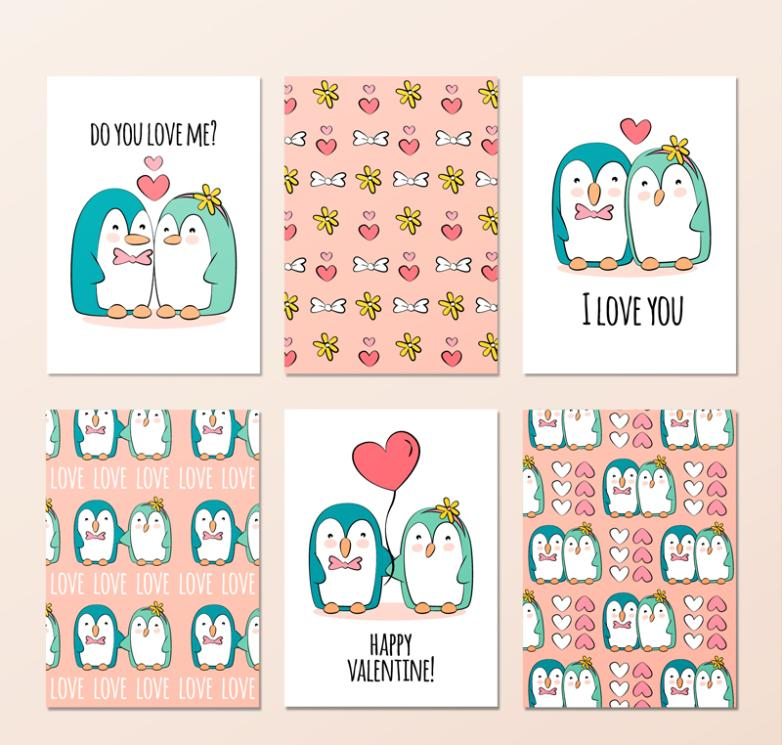 Six Cute Penguins Couples Card Vector