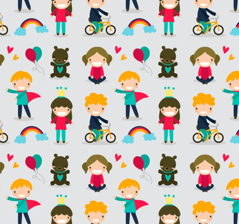 Cartoon Children And Toy Bear Seamless Background Vector