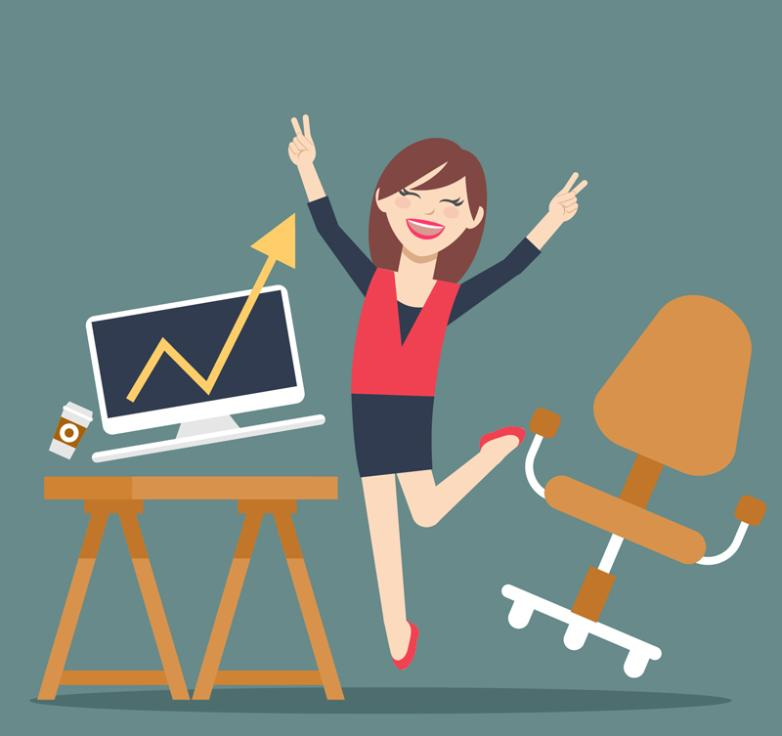 Successful Business White-collar Women In Joy Vector