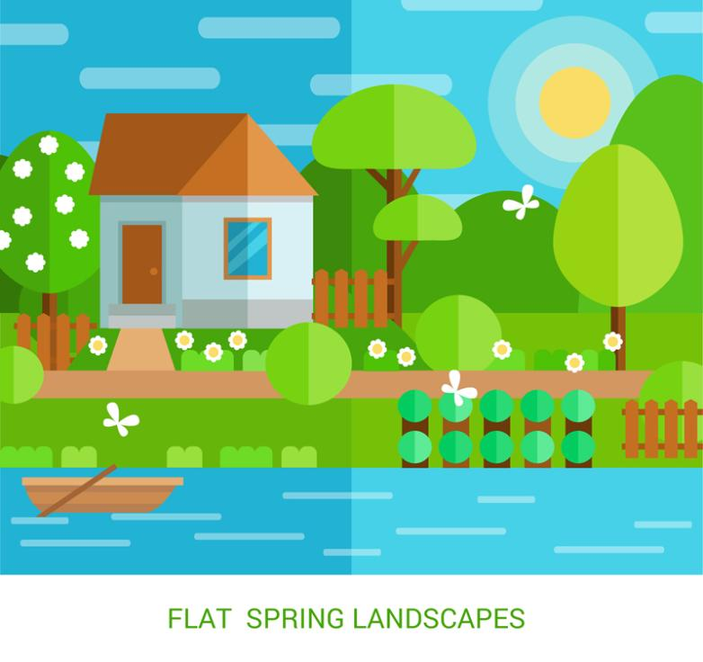 Flat Spring Scenery By The River Vector