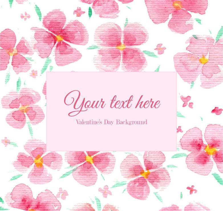 Pink Flower Adornment Watercolor Background Vector