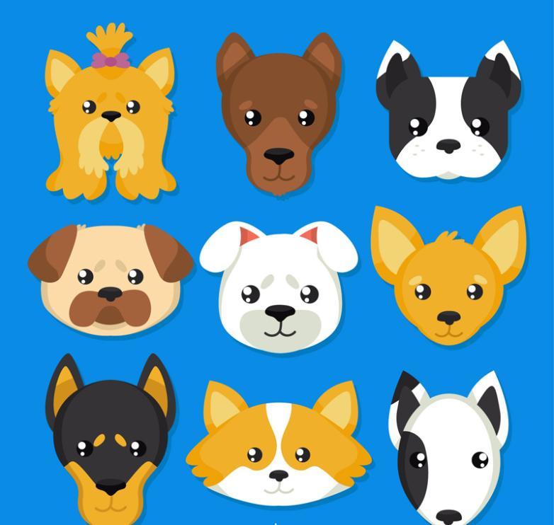 Nine New Lovely Pet Dog Vector