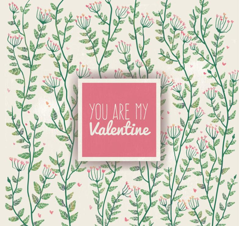 Painted Flowers On Valentine's Day Cards Vector