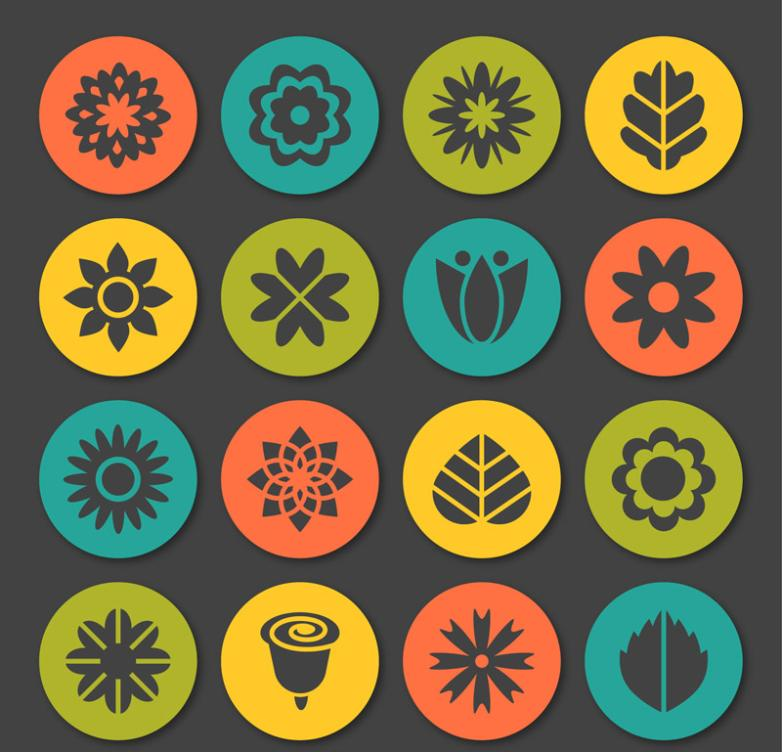 16 Circular Flower And Leaf Icon Vector