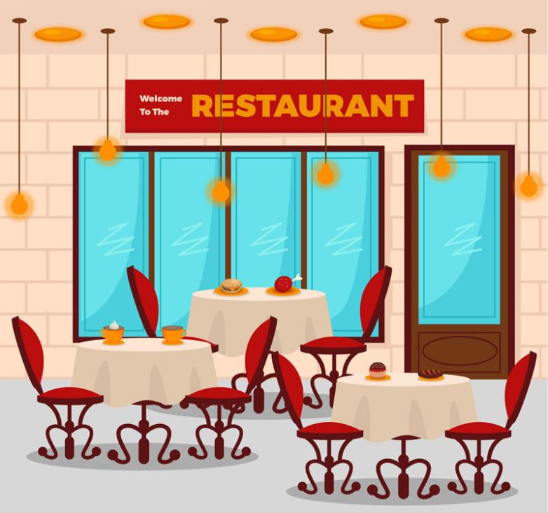 Fashionable Restaurant Tables And Chairs Vector