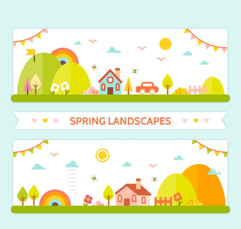 Two Town Spring Scenery Banner Vector
