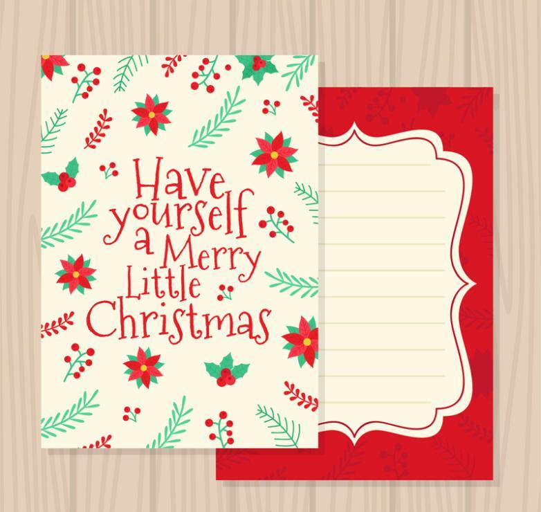 Cartoon Flowers And Handwritten English Christmas Cards Vector
