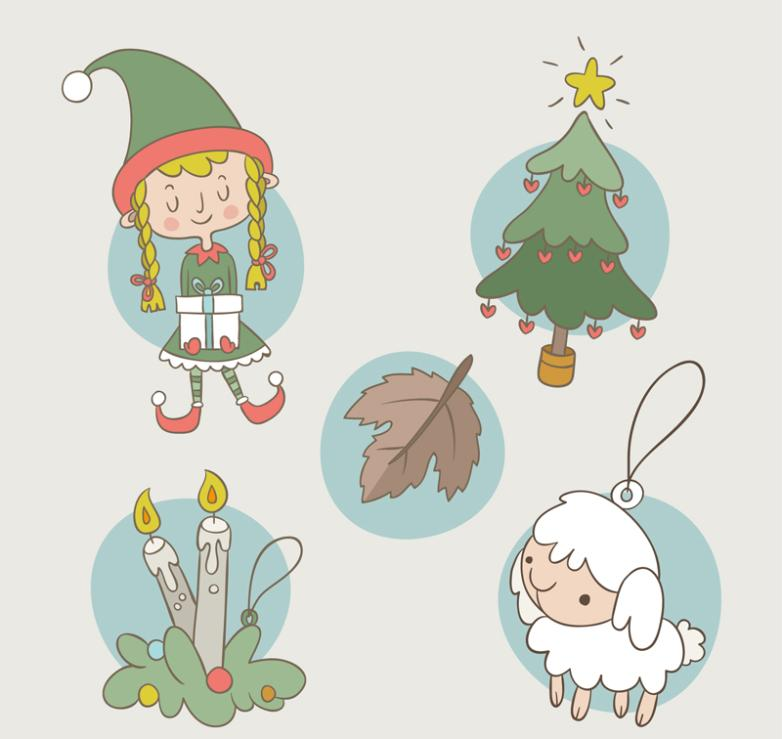 5 Fresh Christmas Elements And Characters Vector