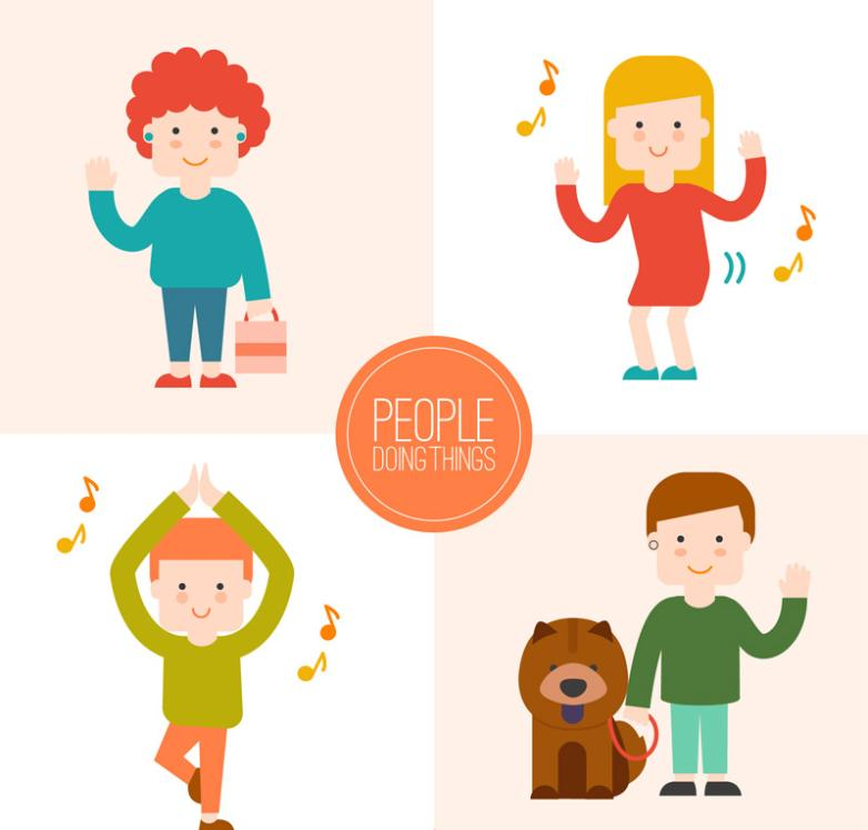 4 Creative Characters Of Doing Things Vector