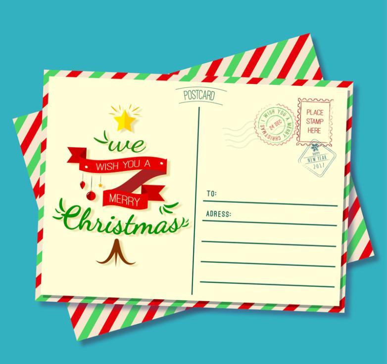 Chromatic Stripe Christmas Card Vector