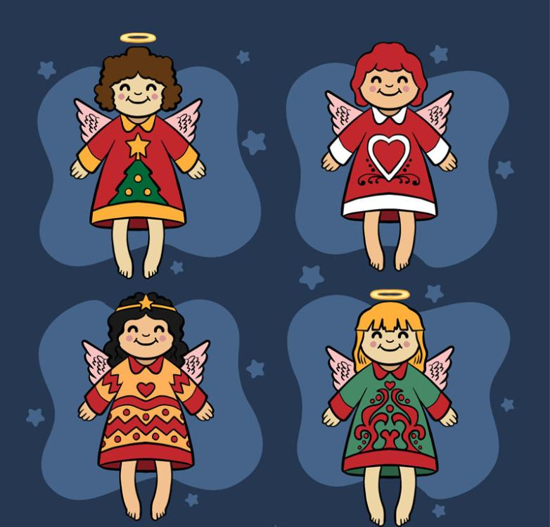 4 Cartoon Smiling Angel Christmas Designs Vector