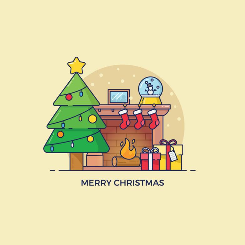 The Cartoon Element Such As The Christmas Tree And The Fireplace Decorated Living Room Vector