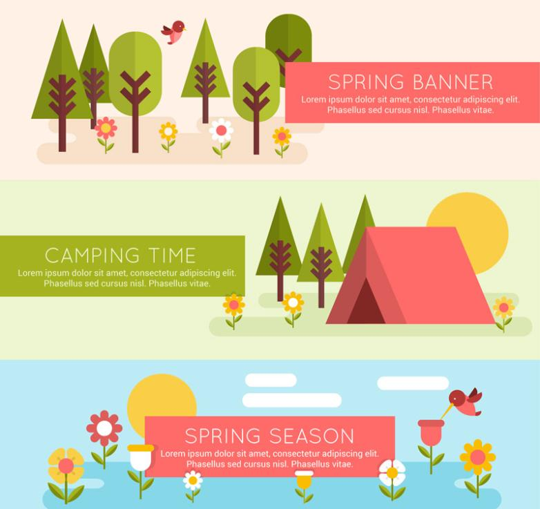 Three Spring Scenery And Camping Banner Vector