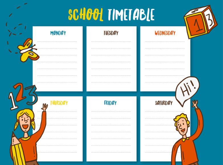 Cartoon Students Decorate Six-day Schedule Vector