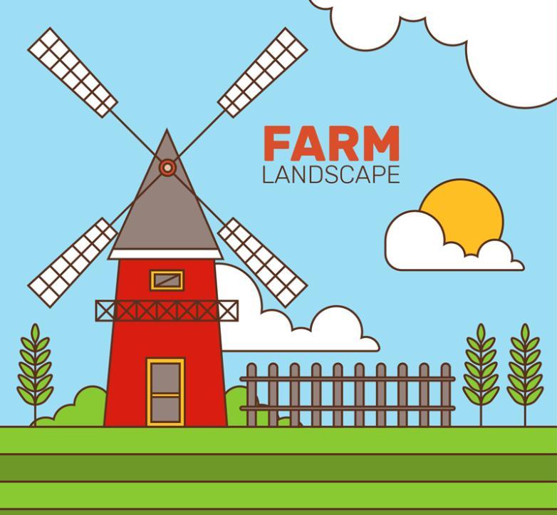 Farm Landscape Mill Windmill Vector
