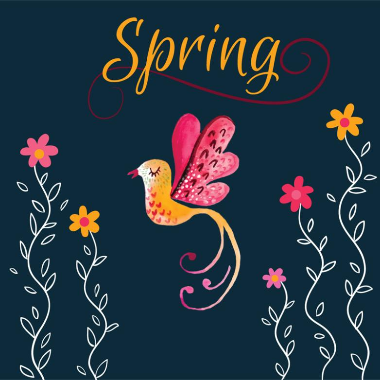 Water Painted Flowers And Birds In The Spring Vector