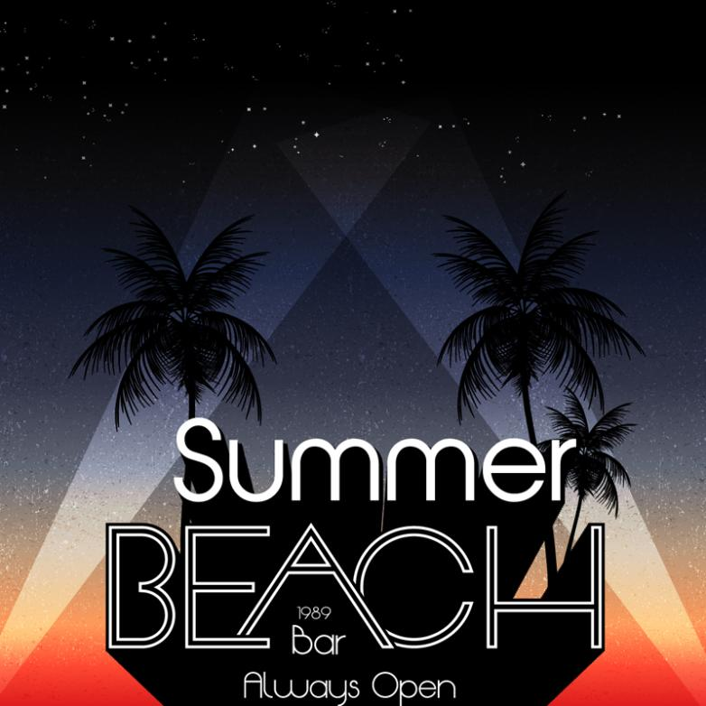 Summer Night Beach Bar Poster Vector
