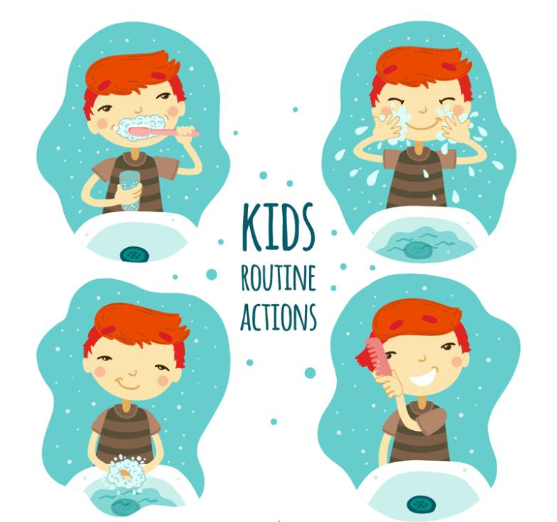 4 Cartoon Boy Wash Gargle Vector
