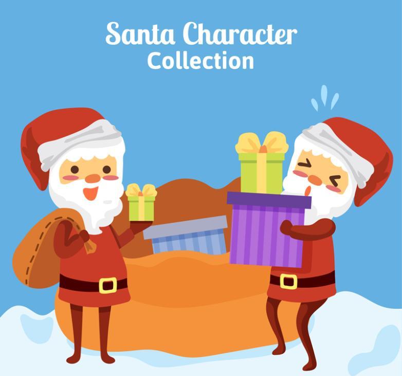 2 Take Cartoon Santa Claus Gift Vector