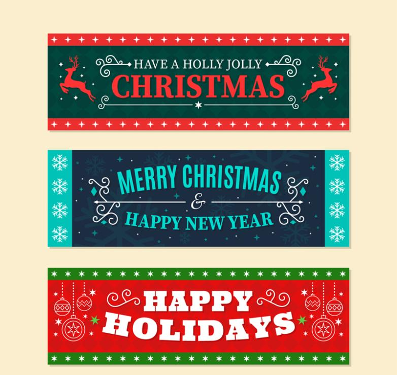 Three Fonts Christmas Blessings Banner Vector