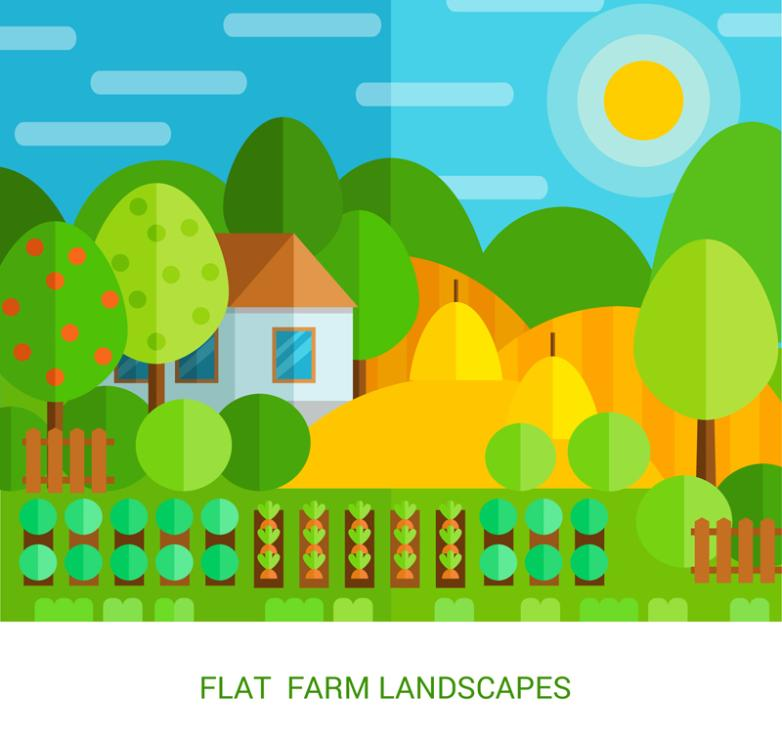 Color Flat Farm Landscape Vector
